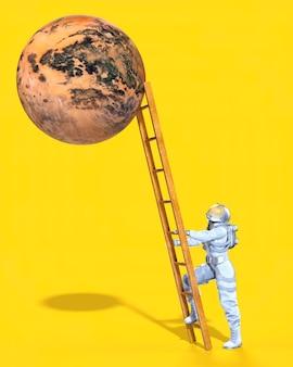 Astronauta che sale la scala per raggiungere il pianeta, sfondo giallo. illustrazione 3d