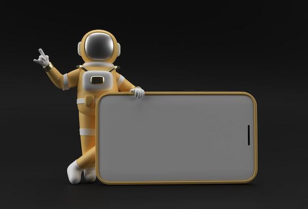 Modello di schermo vuoto per smartphone con dito puntato a mano astronauta. mockup alla moda alla moda astratto. rendering 3d dell'app mobile del telefono vuoto.