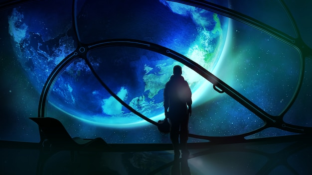 Astronauta guardando la terra