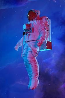Astronauta nello spazio esterno. rendering 3d.