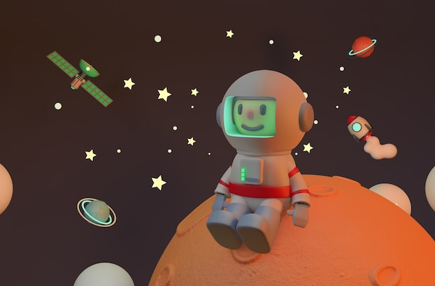 Astronauta seduto su marte solitario. rendering. satellite e razzo
