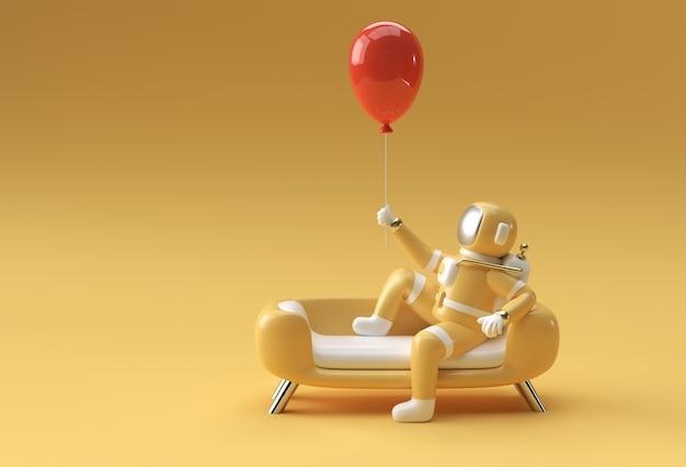 Astronauta seduto sul divano con un palloncino volante strumento penna creato tracciato di ritaglio incluso in jpeg facile da comporre.