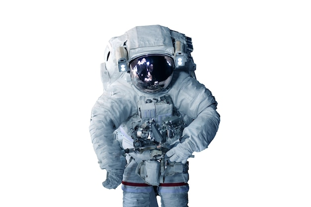 Astronauta in una tuta spaziale isolata su uno sfondo bianco elementi di questa immagine fornita dalla nasa Foto Premium