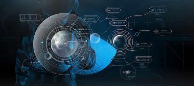 Un astronauta in una tuta spaziale lavora su una luna virtuale d render