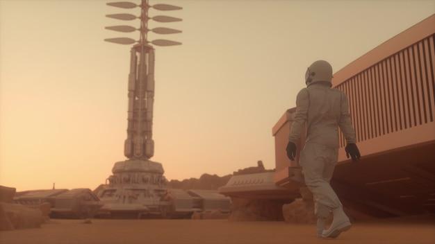 Astronauta che cammina sulla superficie di marte