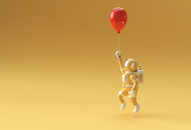 Astronauta con palloncino volante strumento penna creato tracciato di ritaglio incluso in jpeg facile da comporre.