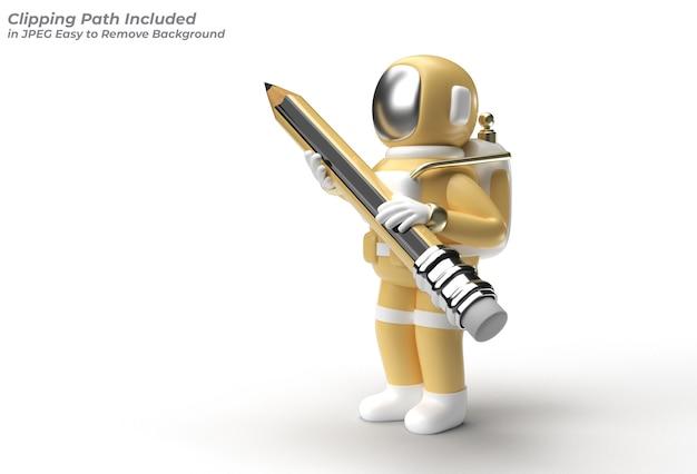 Astronauta con strumento penna matita creato tracciato di ritaglio incluso in jpeg facile da comporre.