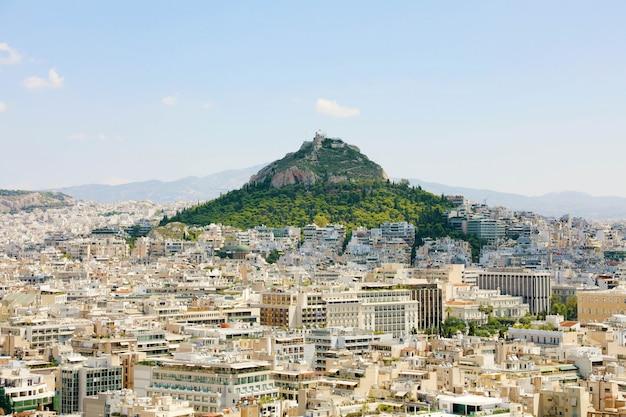 Paesaggio urbano di atene dall'acropoli, grecia.