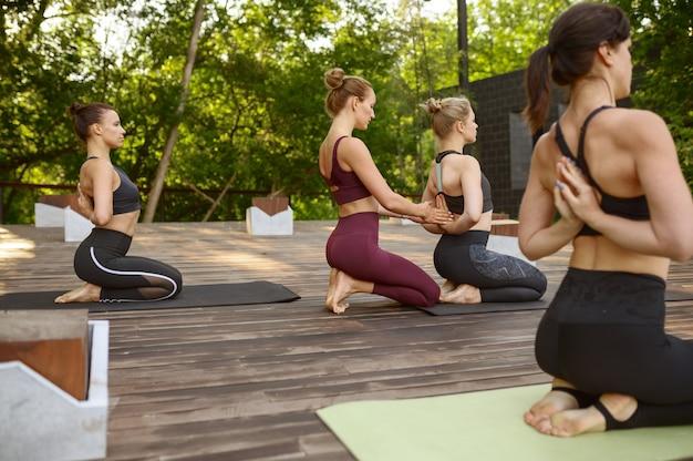 Donne atletiche sulla formazione yoga di gruppo nel parco estivo. meditazione, lezione di allenamento all'aperto