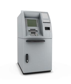 Atm isolare nella macchina di cassiere automatizzato nell'illustrazione 3d