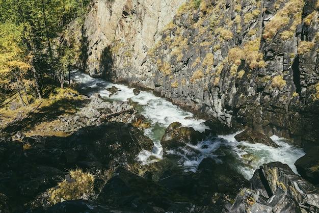 Atmosferico paesaggio di montagna con fiume di montagna turbolento tra rocce vicino alla parete rocciosa in autunno sotto il sole. bellissimo scenario alpino con potente fiume di montagna e foresta autunnale alla luce del sole