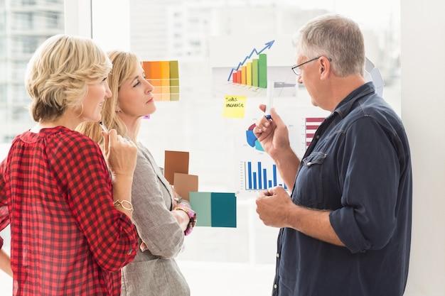 Squadra di affari attenta che spiega i diagrammi di flusso