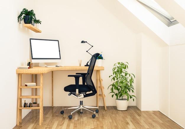 Mockup dello spazio di lavoro attico