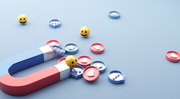 Attrarre (emoji, amore, stella, icona di commento) con un enorme magnete. social media marketing. Foto Premium