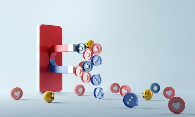 Attrarre l'icona dei social media con un magnete nello smartphone.