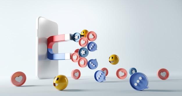 Attrarre l'icona dei social media con un magnete nello smartphone