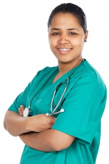 Signora attraente medico su uno sfondo bianco (messa a fuoco in faccia)