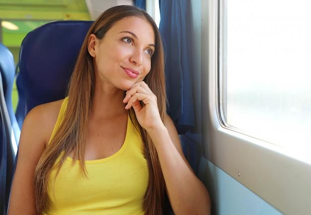 Attraente giovane donna guardando attraverso il finestrino del treno o dell'autobus. passeggero del treno felice che viaggia seduto su un sedile e guardando attraverso la finestra.