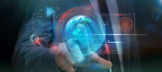 Nella realtà aumentata, un pannello infografico virtuale viene lanciato con il semplice tocco di un dito.