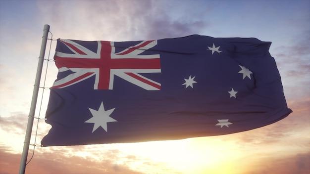Bandiera dell'australia che fluttua nel vento contro il bellissimo cielo profondo. rendering 3d.
