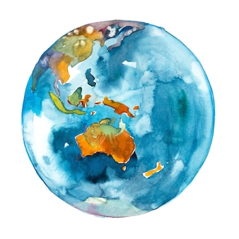 L'australia nel mondo. pianeta terra. acquerello.