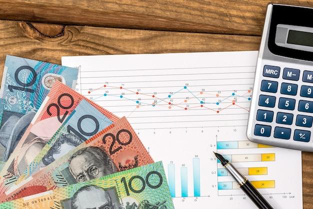 Dollaro australiano con calcolatrice grafica sul tavolo