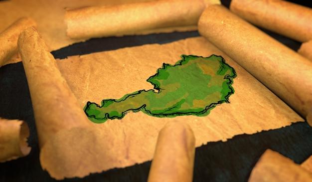 Austria mappa pittura unfolding old paper scorrimento 3d