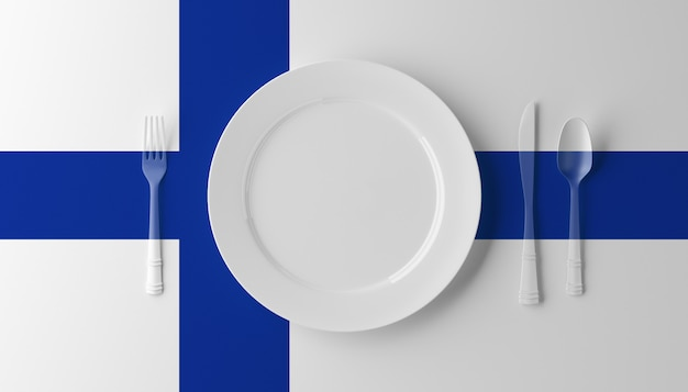 Autentica cucina finlandese. piatto con bandiera finlandese e posate. illustrazione 3d