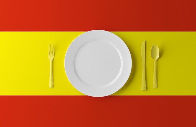 Autentica cucina spagnola. piatto con bandiera spagnola e posate. illustrazione 3d