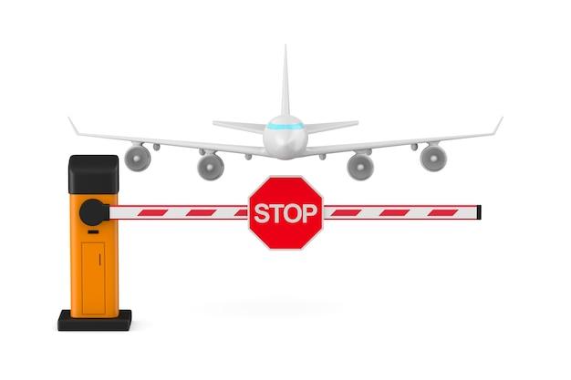 Barriera automatica e aereo su sfondo bianco. illustrazione 3d isolata