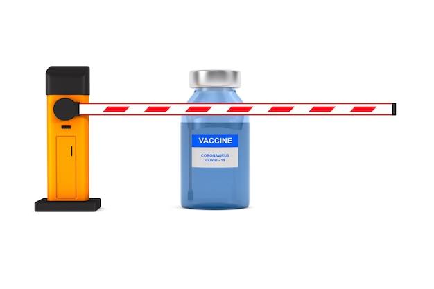 Barriera automatica e vaccino da covid19 isolato su bianco. 3d'illustrazione
