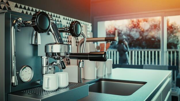 Macchina da caffè automatica in casa. rendering 3d e illustrazione.
