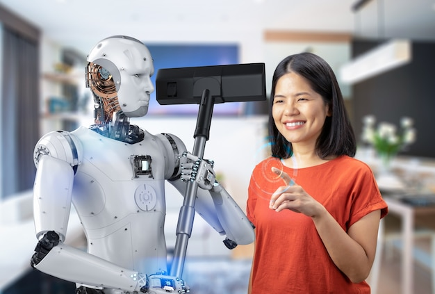 Concetto di governante automatico con rendering 3d cyborg tenere aspirapolvere