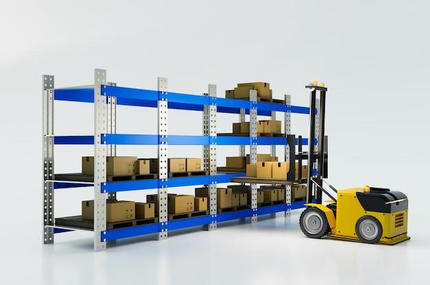 Veicolo di sollevamento automatico che lavora per sollevare la cassetta dei pacchi allo scaffale del magazzino rendering 3d dell'illustrazione