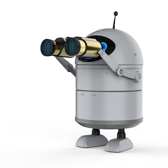 Concetto di motore di ricerca automatico con rendering 3d robot android o robot di intelligenza artificiale con binocolo