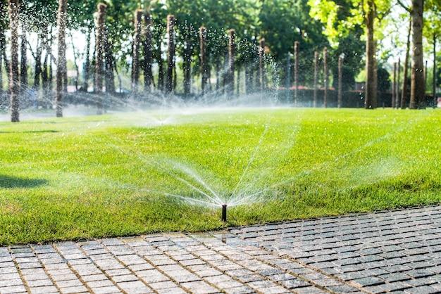 Irrigatori automatici per innaffiare l'erba. il prato viene annaffiato d'estate. comodo per casa