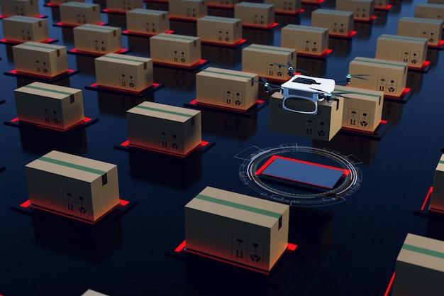 Sistema di trasferimento automatico del magazzino logistico e rendering illustrazioni 3d di magazzino