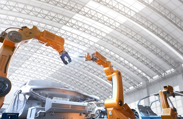 Automazione concetto di fabbrica aumobile con linea di assemblaggio di robot di rendering 3d nella fabbrica di automobili