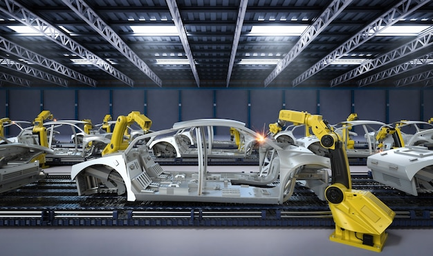 Automazione concetto di fabbrica aumobile con linea di assemblaggio robot di rendering 3d nella fabbrica di automobili