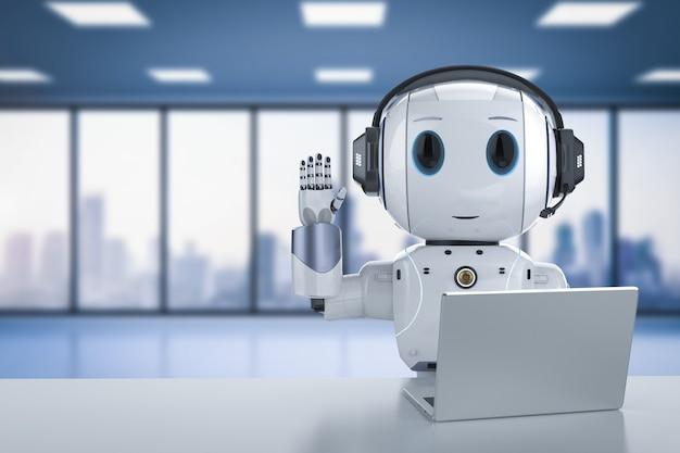 Automazione del concetto di servizio clienti con rendering 3d robot carino che lavora con cuffie e notebook Foto Premium