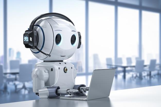 Automazione del concetto di servizio clienti con rendering 3d robot carino che lavora con cuffie e notebook
