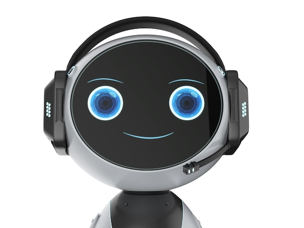 Concetto di servizio clienti di automazione con robot di rendering 3d con auricolare