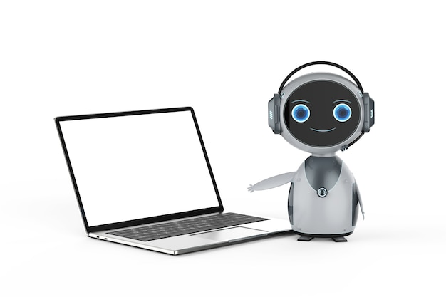 Concetto di servizio clienti di automazione con robot che lavora con il notebook