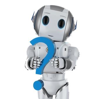Concetto di assistenza clienti di automazione con rendering 3d robot umanoide con punto interrogativo