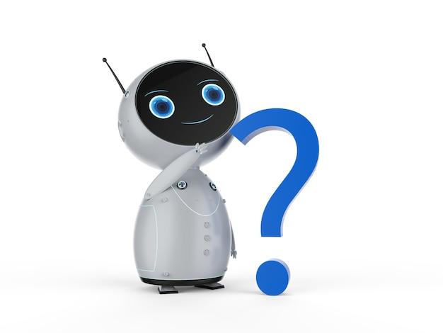 Concetto di assistenza clienti di automazione con robot di rendering 3d con punto interrogativo