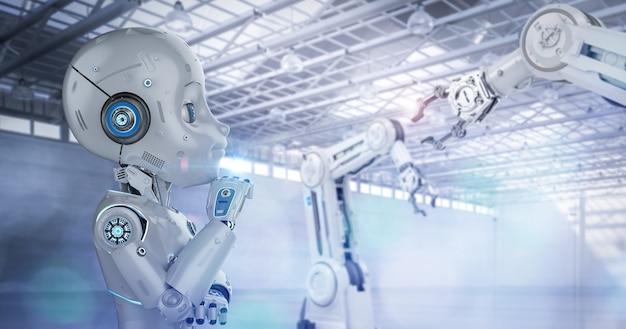 Concetto di fabbrica di automazione con rendering 3d robot carino o robot di intelligenza artificiale con personaggio dei cartoni animati in fabbrica