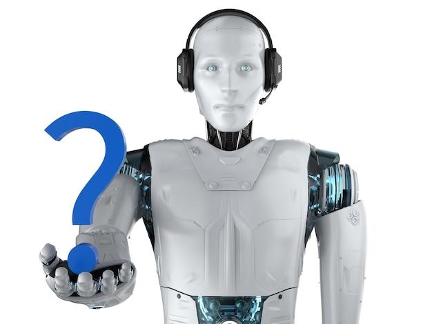 Concetto di assistenza telefonica per l'automazione con robot con punto interrogativo