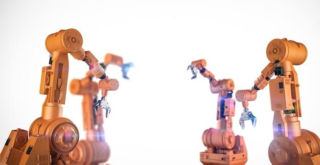 Concetto di industria di automazione con la linea di assemblaggio del robot di rendering 3d su sfondo bianco