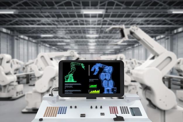 Industria dell'automazione con monitor e bracci robotici