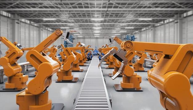 Industria dell'automazione con bracci robotici con linee di trasporto